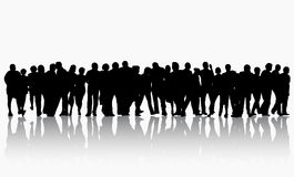 People silhouettes group women and men Stock Photos