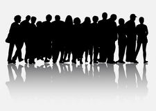 People silhouettes group women and men Royalty Free Stock Photography