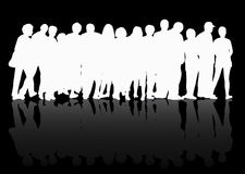 People silhouettes group women and men Royalty Free Stock Photos
