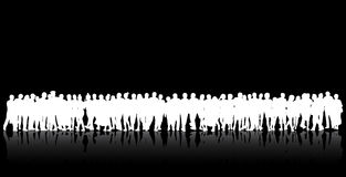 People silhouettes group women and men Royalty Free Stock Images