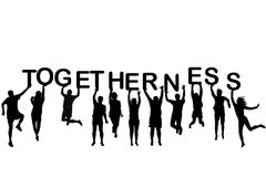 People silhouettes holding letter with word Togetherness. On white background Royalty Free Stock Photos