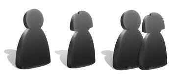 People Silhouettes Icons. Three stylized silhouettes icons - male, female and group. Graphite look Stock Photography