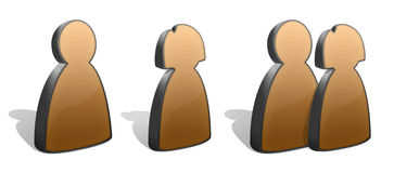 People Silhouettes Icons. Three stylized silhouettes icons - male, female and group. Metal and yellow plastic look Royalty Free Stock Image