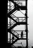 People silhouettes at the industrial project Stock Photo