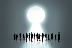 People silhouettes and keyhole Royalty Free Stock Image