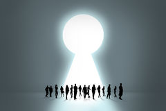 People silhouettes and keyhole Stock Photo