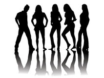 People silhouettes - models Stock Images