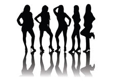 People silhouettes - models Royalty Free Stock Photography