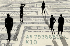 People silhouettes on a money stock illustration