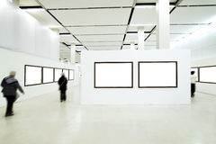 People silhouettes in the museum Royalty Free Stock Photo