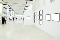 People silhouettes in the museum royalty free stock images