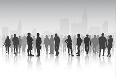 People silhouettes outdoors Stock Images