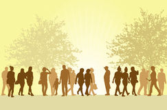 People silhouettes outdoors Stock Photo