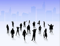 People silhouettes outdoors Royalty Free Stock Photography