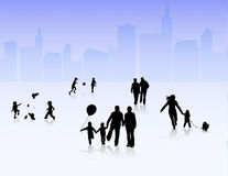 People silhouettes outdoors Royalty Free Stock Images