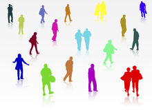 People silhouettes outdoors Royalty Free Stock Photos