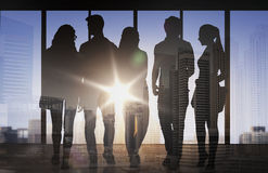 People silhouettes over city airport background Royalty Free Stock Photos