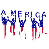 People silhouettes patterned in USA flag Stock Photo