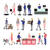 People silhouettes in shopping mall. Icons  on white background. Vector illustration flat style design. Stock Images