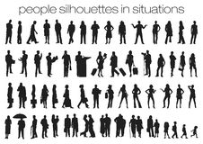 People silhouettes in situations Royalty Free Stock Photos