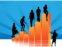 People silhouettes with statistics data Royalty Free Stock Images
