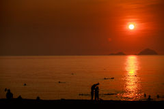 People silhouettes swim in sea against sun in red sky at sunrise Royalty Free Stock Image