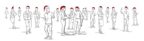 People Silhouettes Wearing Santa Hats Hand Drawn Men And Woman Group On White Background Christmas Or New Year. Celebration Banner Vector Illustration Royalty Free Stock Image