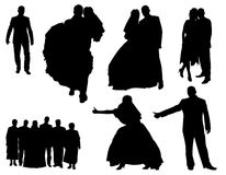 People silhouetts. The black silhouetts of the people Stock Image