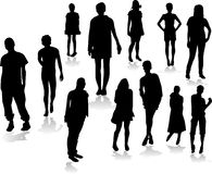 People silhoutte with shadows Royalty Free Stock Photography