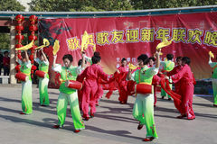 People sing and dance to celebrate the chinese new year Royalty Free Stock Image