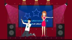 People sing in karaoke. Stock Photos