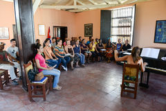 People singing on a choral at Santiago de Cuba Royalty Free Stock Images