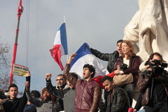People singing Marseillaise in Paris. Stock Photography