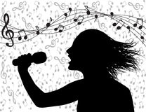 People singing and musical lineup. Profile silhouette of a man singing and musical lineup stock images