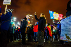 People singing national anthem, Bucharest, Romania Stock Photography