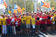 People singing at The National Day of Catalonia Royalty Free Stock Photo