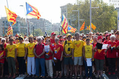 People singing at The National Day of Catalonia Stock Photography