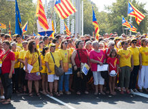 People are singing at rally demanding independence for Cataloni Royalty Free Stock Photo