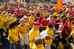 People  singing at rally demanding independence for Catalonia Stock Photography