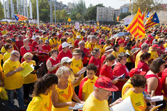 People  singing at rally demanding independence for Catalonia Stock Photo
