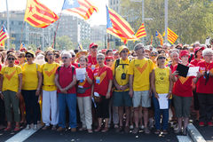 People singing at rally demanding independence for Catalonia Stock Photos