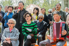 People singing revolutionary songs in fuxing park shanghai china Stock Images
