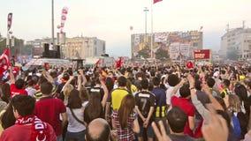 People singing  at Taksim Square stock video footage