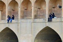 People on Siosepol bridge in Isfahan, Iran Royalty Free Stock Photography