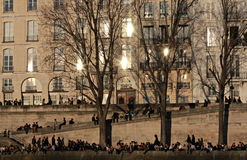 People Sit along the Seine, Paris, France Stock Image
