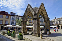 People sit in cafes, Guimaraes, Portugal royalty free stock images
