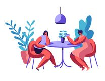 People Sit at Cafeteria Table Drink Coffee or Tea Talk Set. Business Man and Woman have Lunch Break Lovers Couple Dinner. People Sit at Cafeteria Table Drink stock illustration