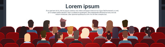 People Sit Cinema Hall Back Rear View Looking Ar Screen With Copy Space. Flat Vector Illustration Stock Photography