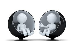 People sit in a modern round chair facing each other and talk Royalty Free Stock Images
