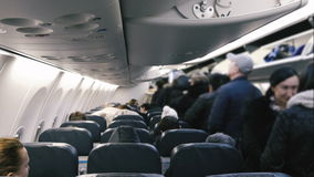 People sit in the plane stock video footage